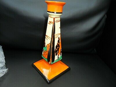A Clarice Cliff Large TREES & HOUSE Candle Stick. • 330£