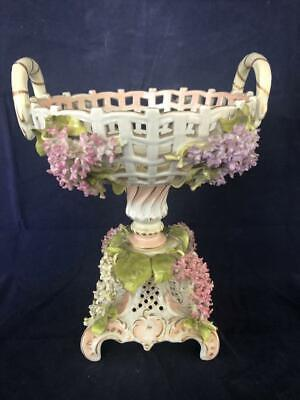 Fine Antique Dresden Royal Coburg Porcelain Applied Flower Centrepiece. C1890 • 69£