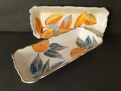 Pair Of Grays Pottery Hand Painted 9  Trinket / Pen Trays / Dishes • 34.99£