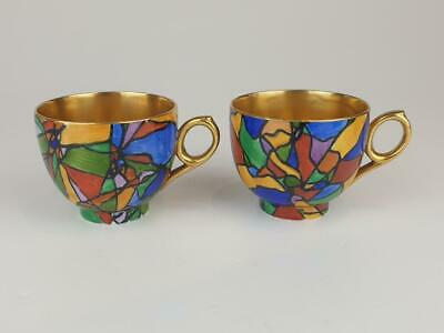 Rare Pair Booths Abstract Mulitcoloured Painted Cups. • 9.99£