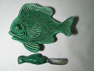 Vintage Vallauris French Art Pottery Fish-Shaped Butter Dish And Knife • 5£