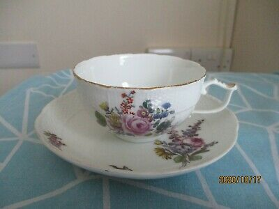 Handpainted Meissen Cup & Dish Saucer Woodland Flowers 18th Century Cross Swords • 75£