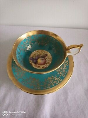 Aynsley  2776 Turquoise & Gold  Fruit Cup And Saucer  • 20£