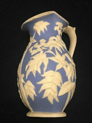 Victorian Blue & White Relief Jug Pitcher Moulded Pottery • 34.99£