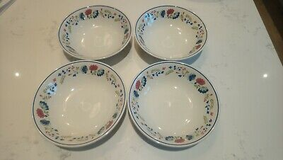 4 X BHS Priory White Multi Floral Cereal Desert Soup Bowls 6.5  • 23.99£