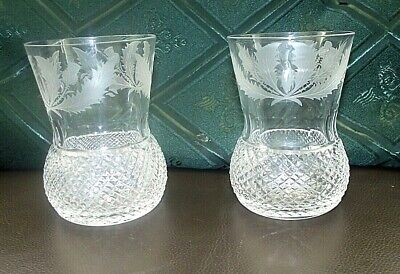 Two Edinburgh Crystal Thistle Pattern Whisky Tumblers / Glasses 4  Old Pattern • 26£