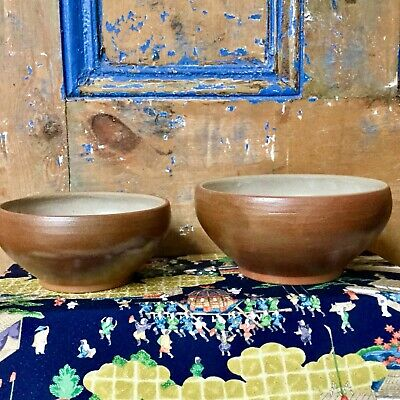 Vintage French Digoin Style Stoneware Bowls Rustic Farmhouse Fruit Salad Bowls • 39£