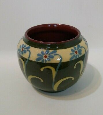 Antique 1920s HART & MOIST POT/VASE 3  Devon Art Pottery H M EXETER Daisy Design • 9.99£