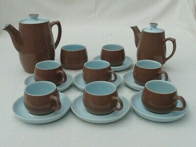 Langley Lucerne Retro Brown And Light Blue Coffee Set • 20£