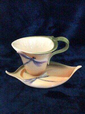 FRANZ Porcelain China Dragonfly Cup And Saucer - FZ00028, Perfect Condition • 21£