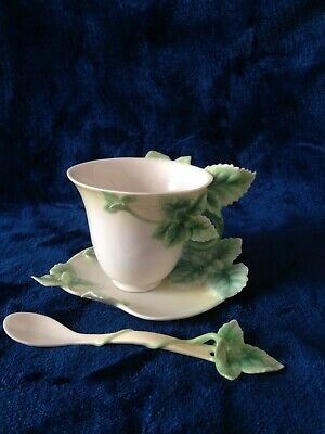 Franz Porcelain Mint Cup, Saucer And Spoon Set - Boxed • 32£