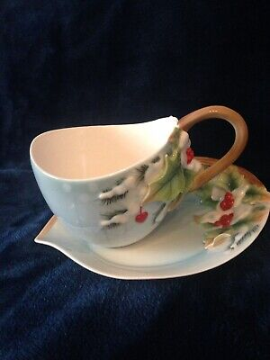 """Franz Porcelain Chickadee Cup And Saucer """"Holiday Beginnings"""" - Rare Boxed • 49£"""