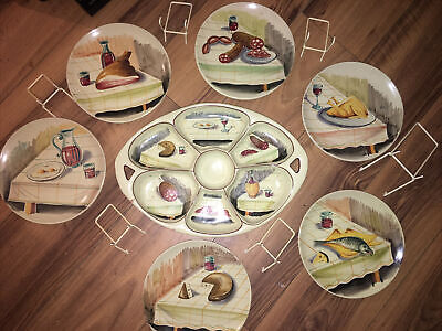 6 Italian Hand Painted Plates Plus Serving Dish, Plate Stands, 1950s • 20£