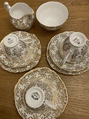 Royal Vale Gold Chintz Vintage Bone China 3 X Trio Sugar Bowl And Jug 11 Pieces • 10£
