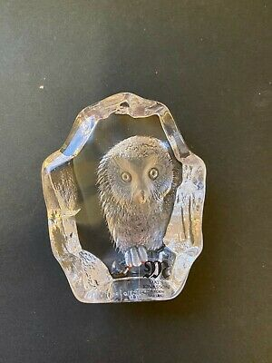 Mats Jonasson Collectors Society Owl Paperweight Year 2000 3  Tall Signed +label • 25£
