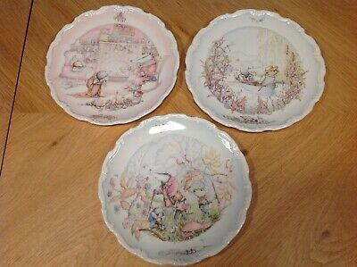 Vintage Royal Doulton Three Wind In The Willows Children's Plates Bone China • 15£