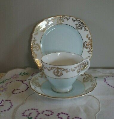 Teacup Trio, Royal Vale, English Bone China, Blue, Shabby Chic • 12.50£