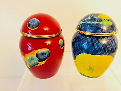 Poole Pottery 2 Enamelled Miniature Ginger Jars & Covers Crummies Signed  • 11£