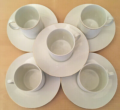Thomas Germany Medaillon White Gold Thin Band FIVE (5) Tea Cups & Saucers  • 20£