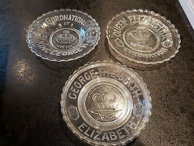 2 Royal Commemorative 1937 King George Coronation Glass Plate Bowls & 1953 Plate • 15.99£