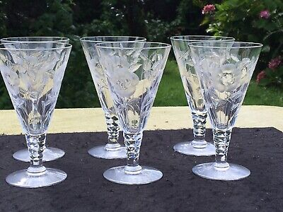 Stunning Webb Corbett Quality Crystal Wine Glasses Etched Floral Facet Stem RARE • 88.35£