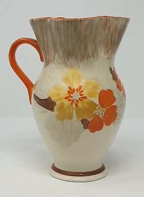 Hancock's  Art Deco Ivory Ware 1930's Hand Painted  Floral Jug - 8 Inch High • 65£