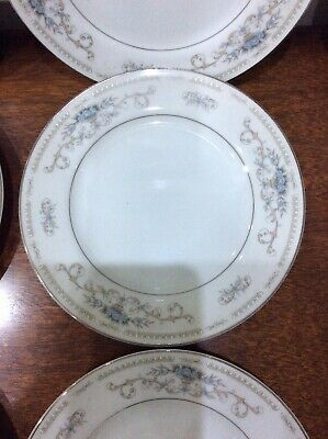 "Vintage "" Diane"" China Small Side Plates X 9 , White, Blue & Silver , 6.5""  • 18£"