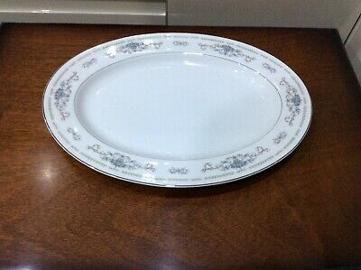 """Vintage Wade """" Diane """" ,china Oval Meat Plate ,white, Blue & Silver  • 10£"""