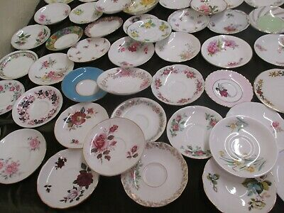 Mismatch Job Lot Of 10 Vintage China Saucers , Ideal For Parties Tearooms  • 13£