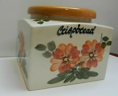 Babbacombe Toni Raymond Pottery Crisp Bread Lidded Canister/jar Coral • 20£