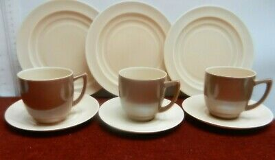 Branksome China 3 Of  Cup Saucer And Plates Art Deco Style 1950's Beige & Brown  • 18£