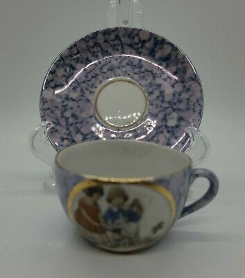 Antique Germany Child's Tea Cup Demitasse Girls With Goat • 13.90£