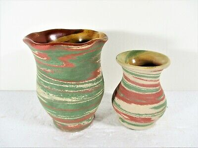 2 Old Hand Thrown Swirl Vases By Silver Spring Pottery, Florida, Mint Condition • 10.58£