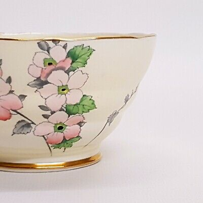Art Deco Sugar Bowl ~ Fenton ~ Gold & Cream Painted Floral Design ~ BEAUTIFUL • 13.99£
