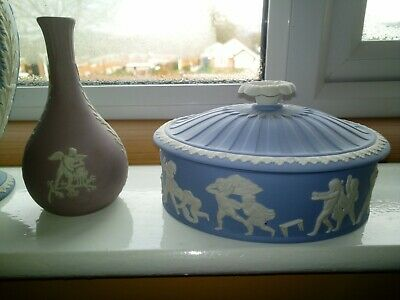 Wedgwood Jasper Ware Jasperware Lilac Blue Vase Jug Covered Box Collection Lot • 65£