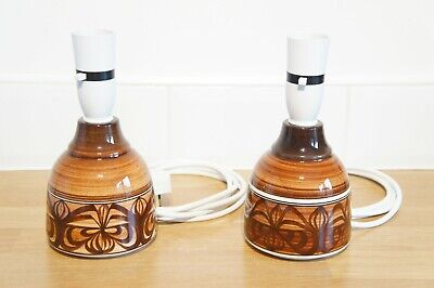 Retro Pair Of Jersey Pottery Table Lamps, Small, Ceramic, Brown White, Electric. • 30£
