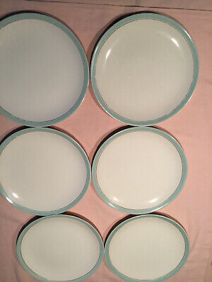 Vintage Johnson Brothers Dinner Plates, White Plate With Pale Blue & Gold Eding • 6£