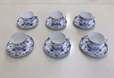 6 X Royal Copenhagen Blue Fluted Full Lace Cups - 1st Quality (#1035) • 575£