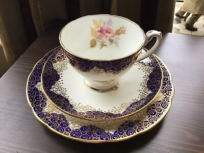 Hammersley & Co Bone China Cobalt Blue Gilded &  Handpainted Floral Trio • 12.99£