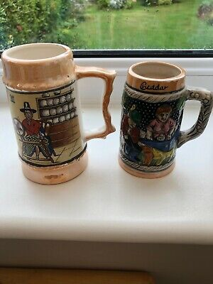 Two Small Pottery Vintage Tankards • 4.99£