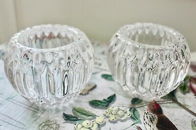 Pair Of Heavy Vintage Glass Tealight Candle Holders • 7.99£