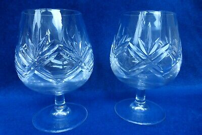 Pair Of Thomas Webb Cut Crystal 'London' Pattern Brandy Snifters / Glasses • 15.99£