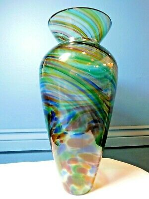 Vintage Art Glass Vase / Spatter And Swirl Glass / Large • 19.99£