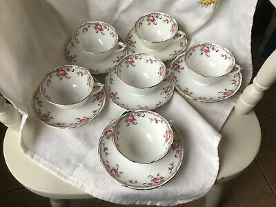 Vintage Tuscan Bone China Cups And Saucers Pink Roses Gold Rim X 6 • 22£