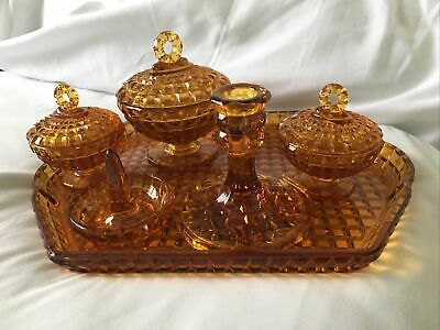Vintage Art Deco 6 Piece Amber Glass Dressing Table Set. • 25£