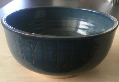 Vintage Blue Studio Pottery Bowl With Rune Decoration From Orkney Pottery Rousay • 2.99£