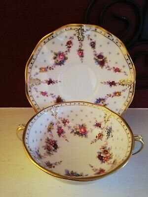 Royal Crown Derby Royal Antoinette Soup Cup Bowl And Saucer 1st Mint • 65£