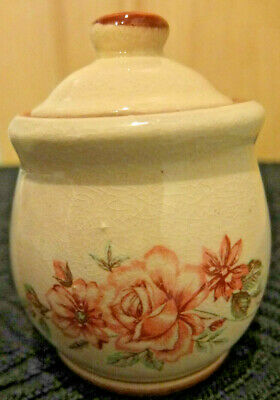 Vintage & Very Pretty, Pottery Small Floral Pot With Lid , Good Condtion For Age • 1.99£