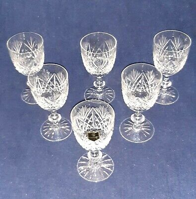 Six Edinburgh Crystal Wine Glasses Etched On Base Excellent Cond. For Charity • 14.50£