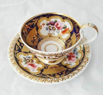 Antique Coalport ? Cup And Saucer With Hand Painted Flowers - Lovely Condition • 14.50£